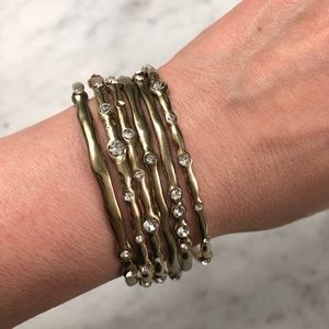 Jewelry - Set of 6 Gold Bangles with Crystals